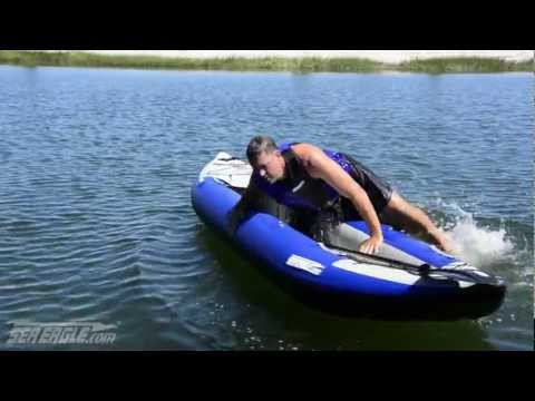 How to get back into an inflatable kayak from the water