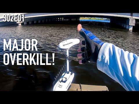 Jon Boat Super Powerful Trolling Motor Test   When I'm Not Workin I'm Fishin S02E01