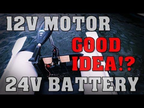 12V trolling motor + 24V battery.. 😬