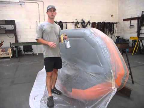 How to paint an Inflatable Boat - Topside Paint using a Spray Gun