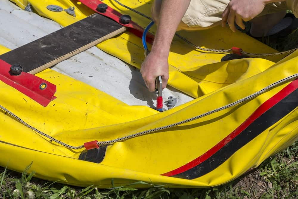 pumping an inflatable boat through a boston valve