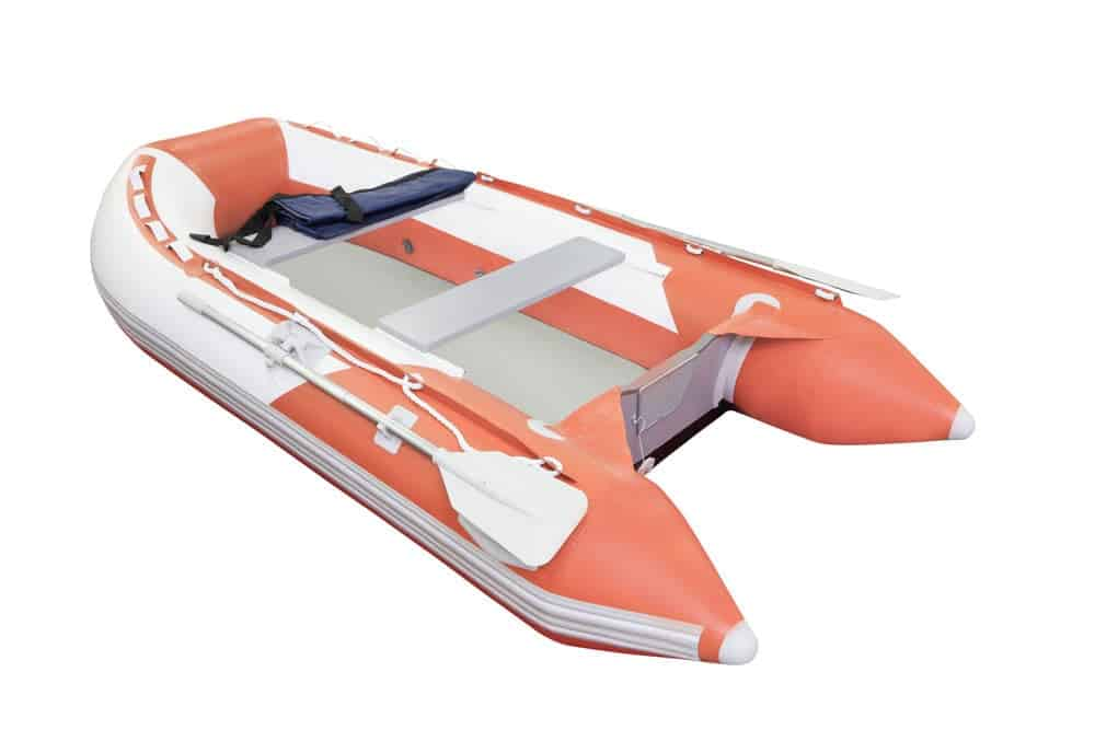 a red orange inflatable boat