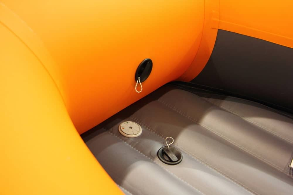 Modern orange Inflatable PVC boat using Halkey Roberts Valves