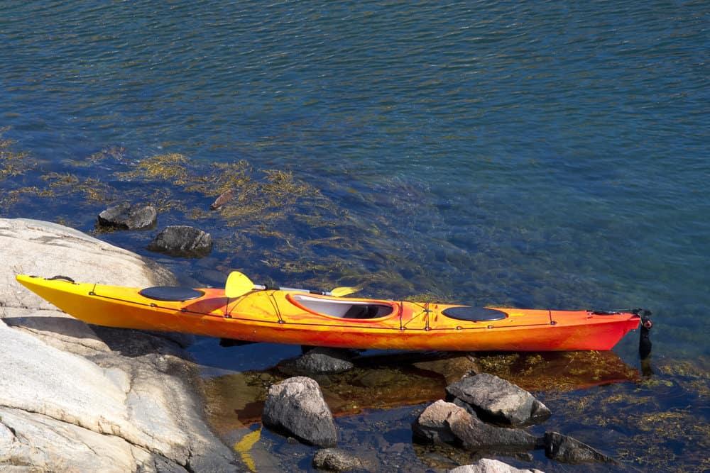 Kayak on a rocky shore