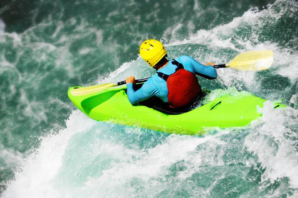 hard-shell kayaks on white water