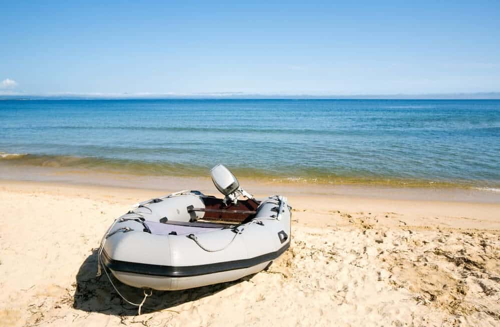 inflatable boat on the beach