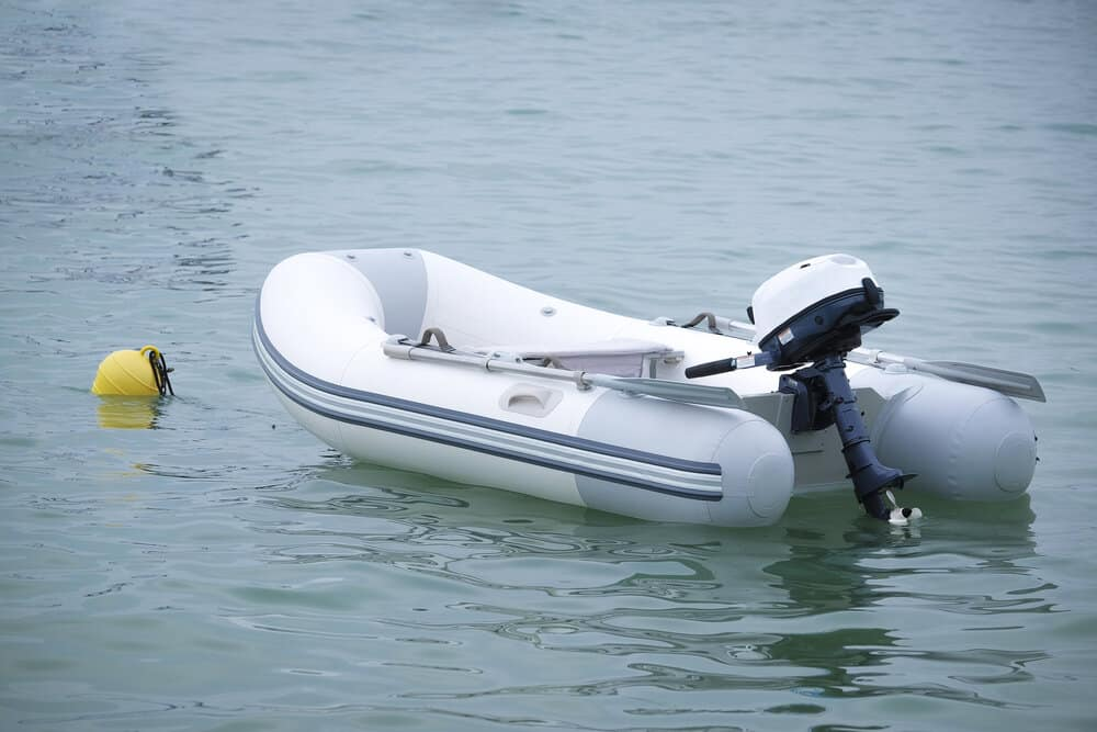 an inflatable boat with outboard motor