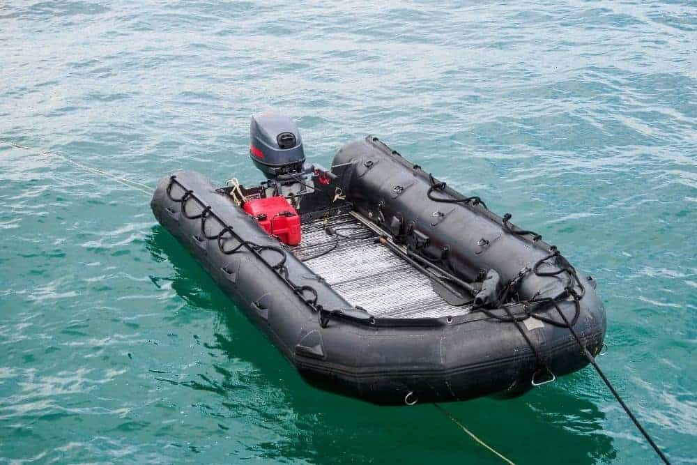 Aluminum Floor Inflatable Boat On Water