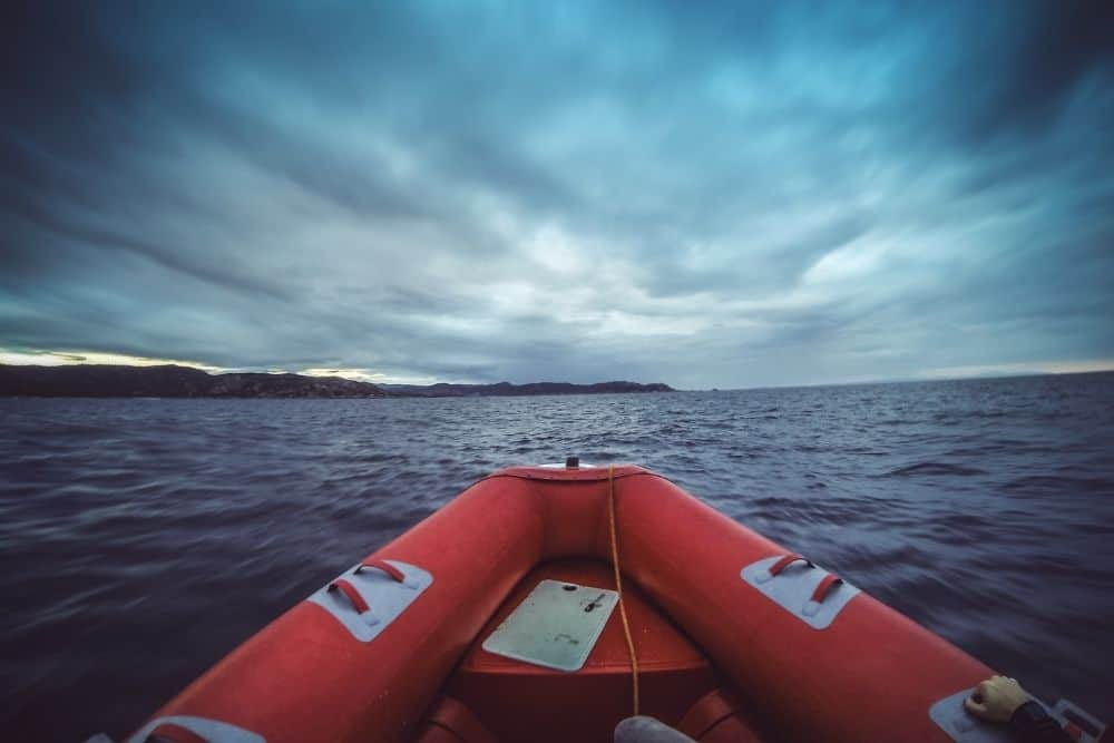 Inflatable boat at sea in windy weather