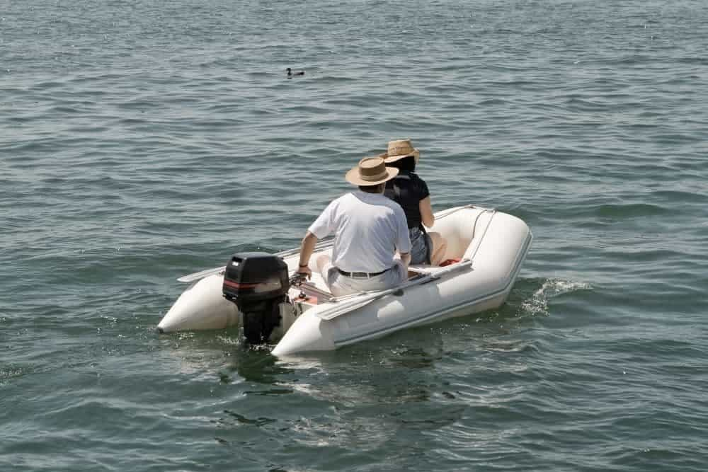 Inflatable boat on the river