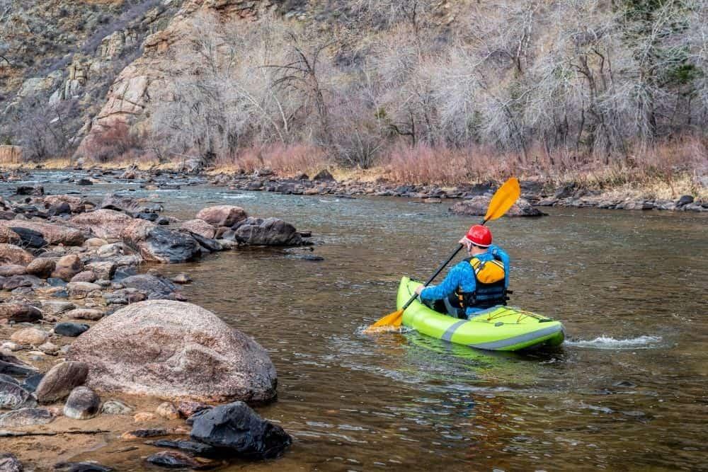 Inflatable kayak on a river