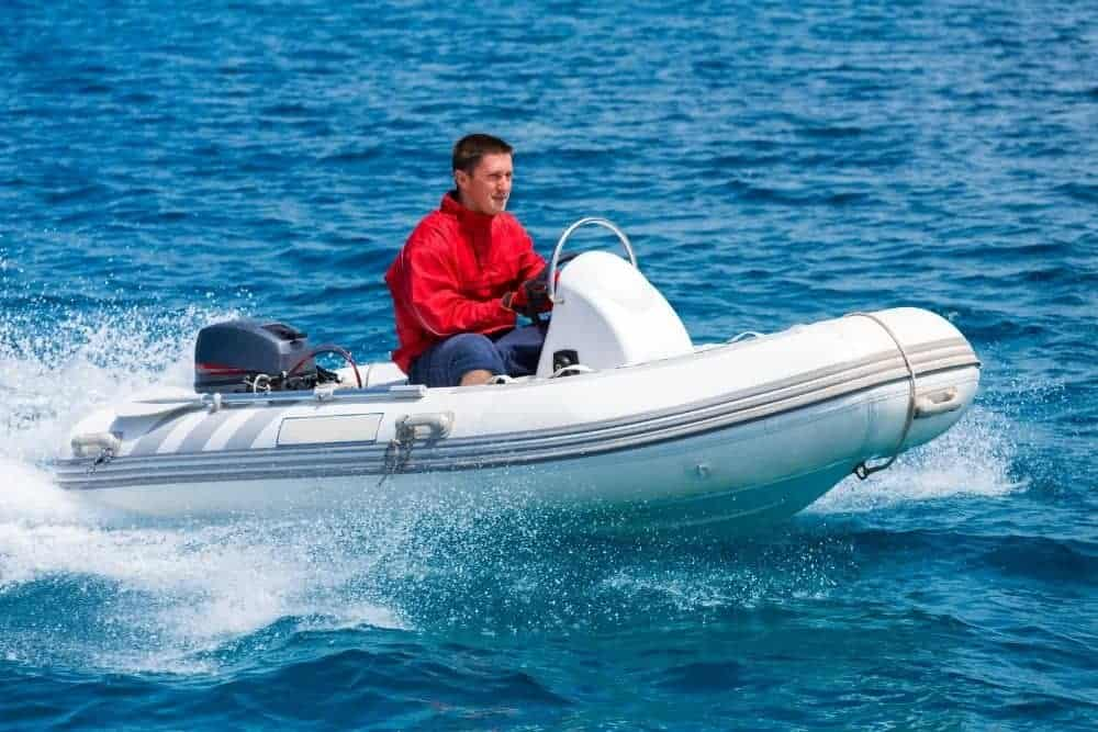 Rigid inflatable boat on the sea