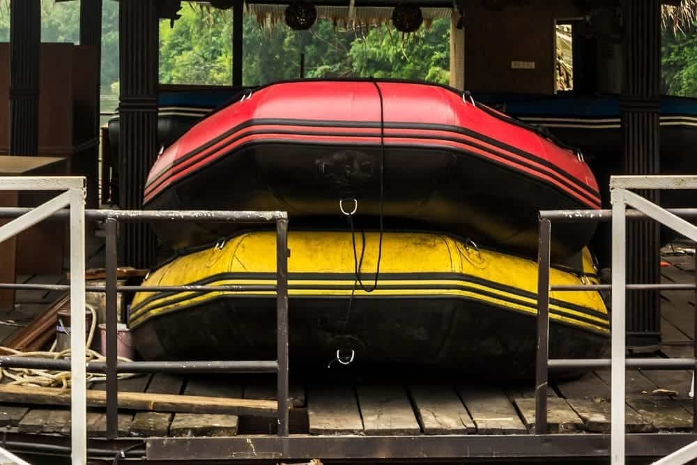 Store inflatable boat outside