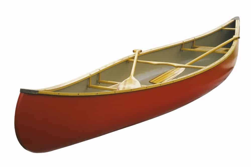 a red canoe with 2 paddles