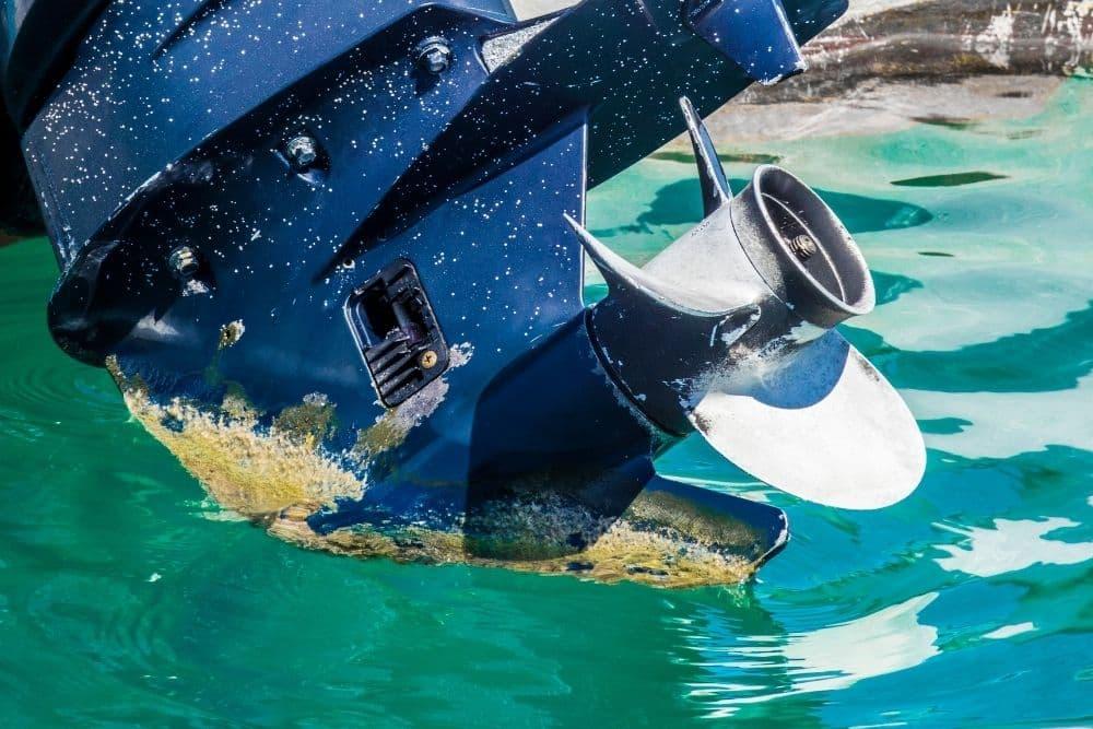 damaged engine of inflatable boat
