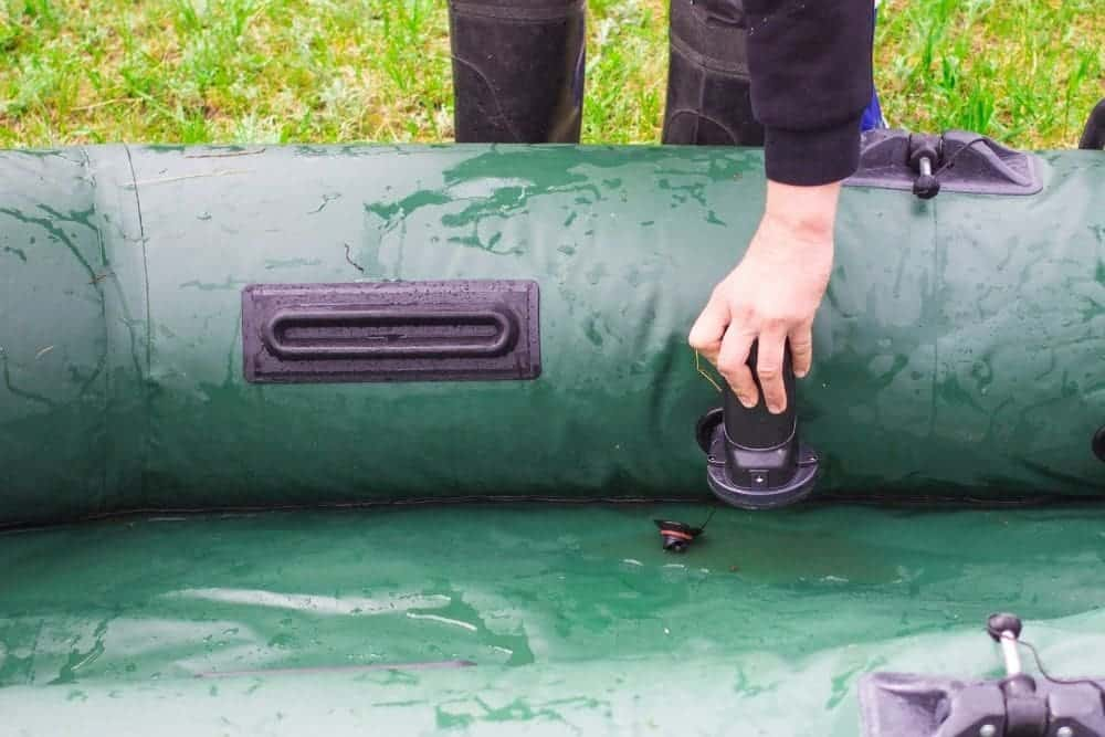 Inflatable boat is water filled