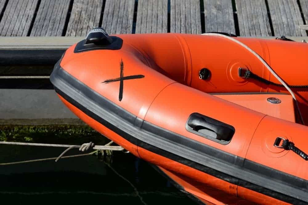 Mark on the inflatable boat