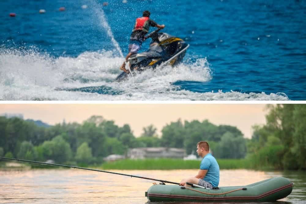 The uses of jet skis and inflatable boat