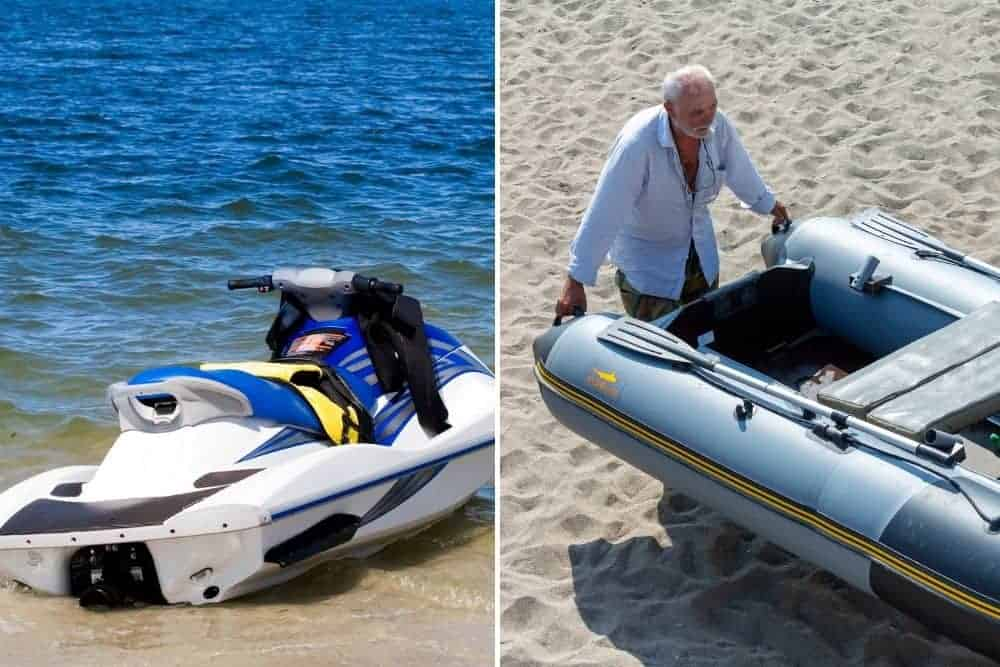 Weight of inflatable boat vs jet skis