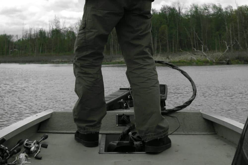 a high end trolling motor on a fishing boat