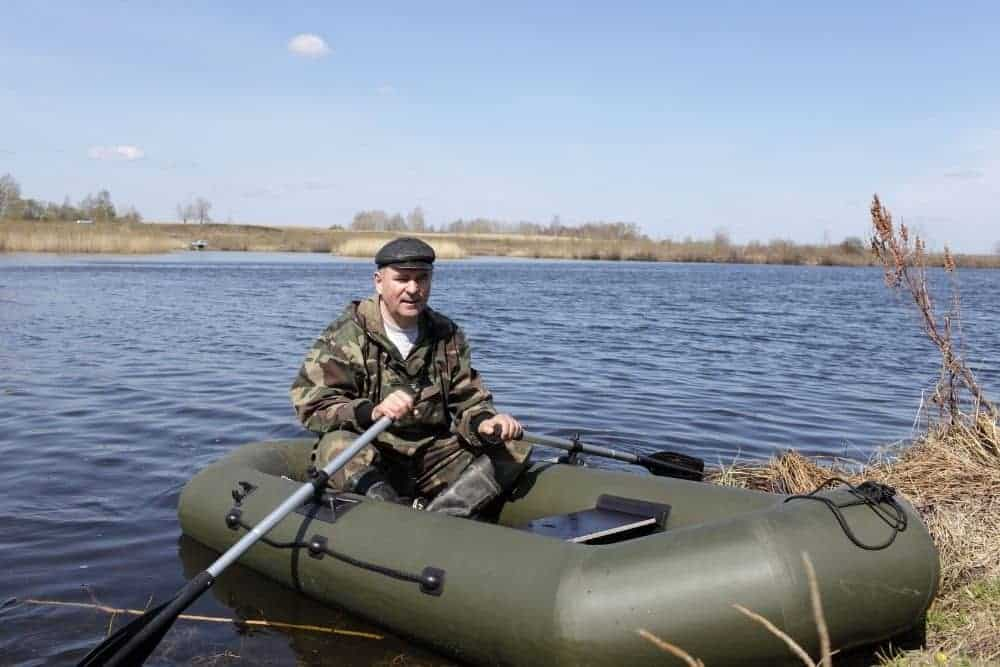 an inflatable boat on a river
