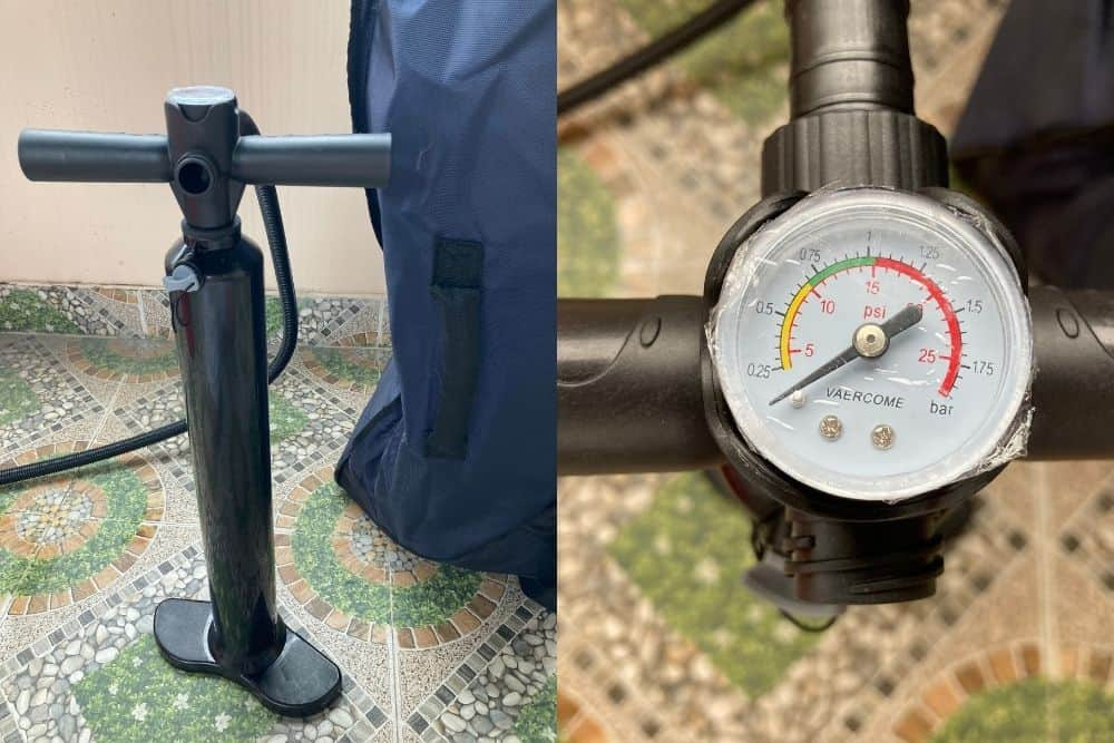 The hand pump and built-in pressure gauge