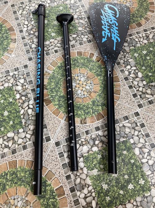 three lightweight aluminum paddle pieces